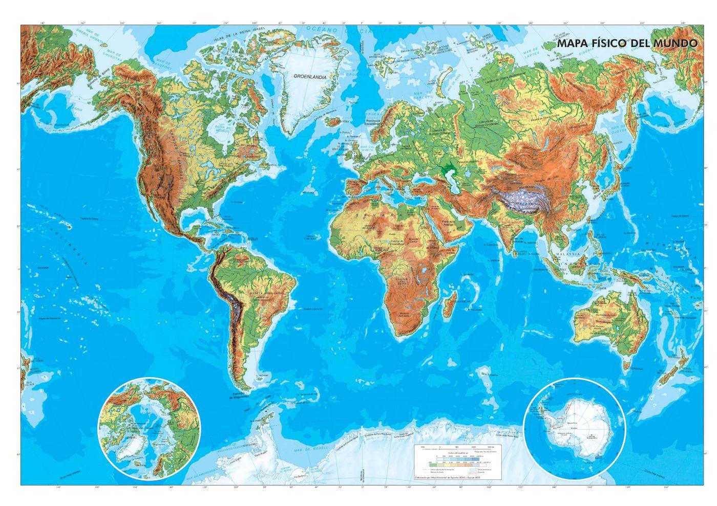 Mapa Fisic Del Mon Active Textbook